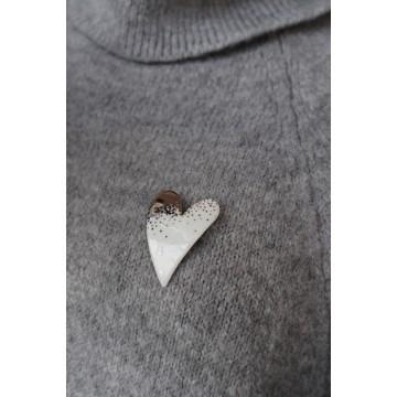 Broche coeur platine